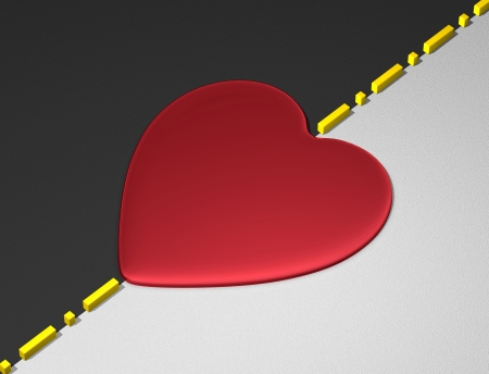 transcend: Red reflective heart on yellow divisional line between black and white textured areas Stock Photo