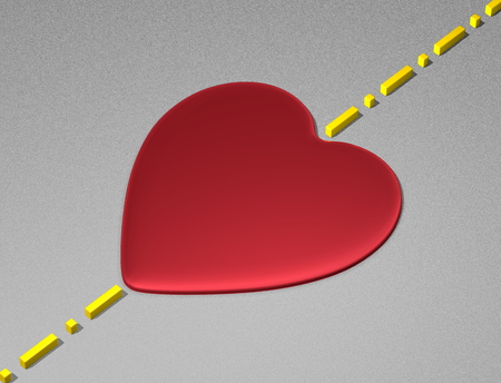 transcend: Red reflective heart on light grey textured surface with yellow boundary line Stock Photo