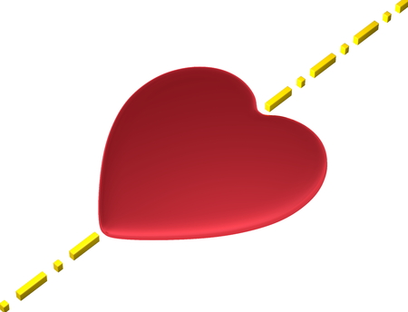 transcend: Red reflective heart with yellow boundary line isolated on white Stock Photo