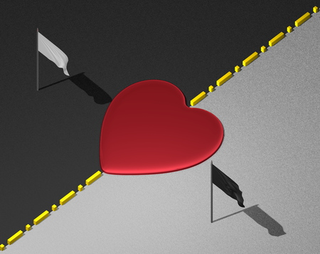 transcend: Red reflective heart on yellow divisional line between black and white areas with white and black flags Stock Photo