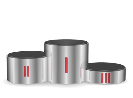roman numerals: Cylindrical metallic pedestal with red Roman numerals  Front view