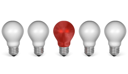 One red light bulb in row of white ones isolated on white background. Front view photo