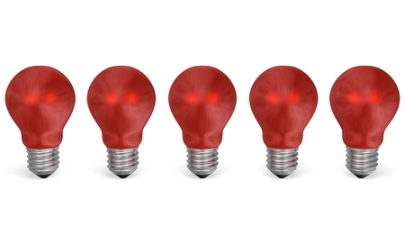 risky innovation: Row of red reflective light bulbs isolated on white background. Front view