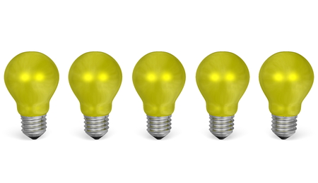 risky innovation: Row of yellow reflective light bulbs isolated on white background. Front view Stock Photo