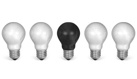 uniqueness: One black light bulb in row of many white ones isolated on white background. Front view Stock Photo