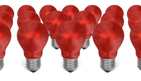 risky innovation: Group of red reflective light bulbs isolated on white background Stock Photo