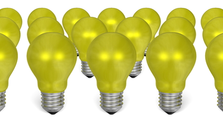 risky innovation: Group of yellow reflective light bulbs isolated on white background