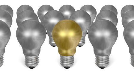 among: One golden light bulb among many silver ones isolated on white background