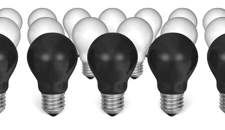 uniqueness: Row of black light bulbs in front of white ones isolated on white background Stock Photo
