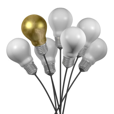 uniqueness: Bouquet of many white light bulbs and a golden one with aluminium cap isolated on white background
