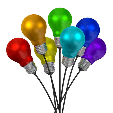 Bouquet of many-colored light bulbs on black wires isolated on white background photo
