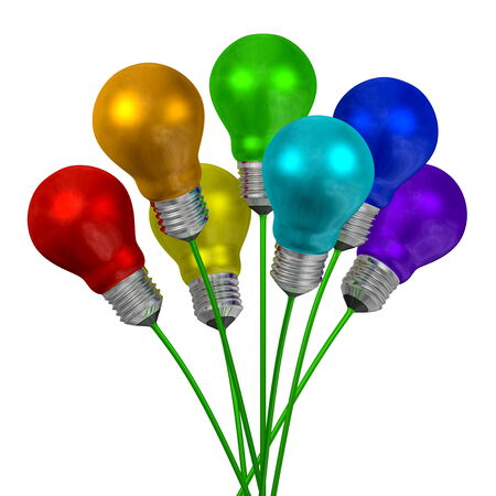 Bouquet of light bulbs of different colors on green wires isolated on white background photo