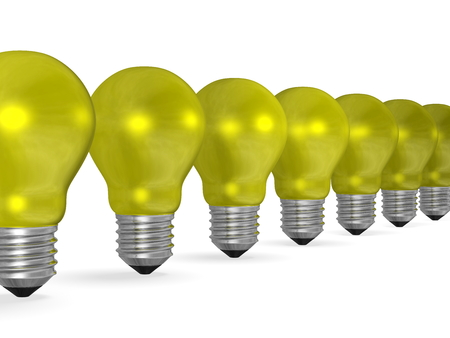 risky innovation: Row of yellow reflective light bulbs in perspective isolated on white background