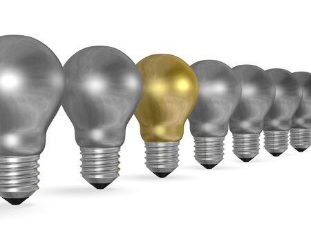 uniqueness: One golden light bulb in row of many silver ones isolated on white background Stock Photo