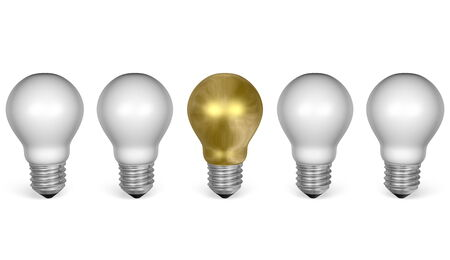 One golden light bulb in row of white ones isolated on white background. Front view photo