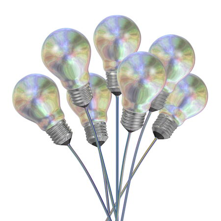 iridescent: Bouquet of pearl light bulbs on iridescent wires isolated on white background