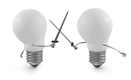duel: Two white light bulbs fighting duel with swords isolated on white