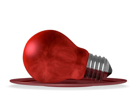 Red light bulb served in red saucer isolated on white background