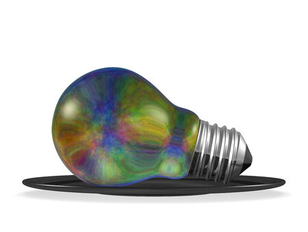 Multicolored light bulb served in black saucer isolated on white background