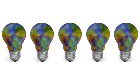 iridescent: Row of multicolored iridescent light bulbs isolated on white background. Front view