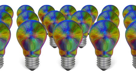 iridescent: Group of multicolored iridescent light bulbs isolated on white background