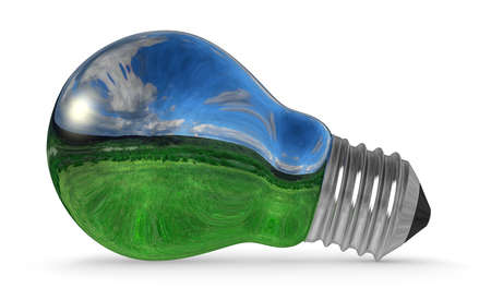 environmentalism: Light bulb with landscape reflection isolated on white background Stock Photo