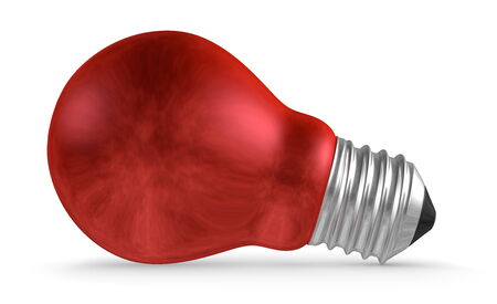 risky innovation: Red light bulb lying isolated on white background Stock Photo