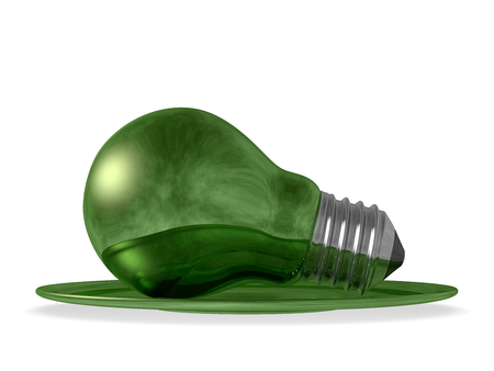 environmentalism: Green reflective light bulb served in green saucer isolated on white background