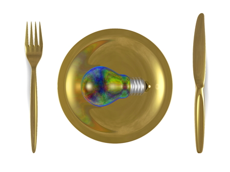 iridescent: Multicolored iridescent light bulb, golden plate, fork and knife isolated on white background. Top view Stock Photo