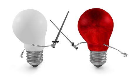 struggle: Red light bulb fighting duel with swords against white one isolated on white