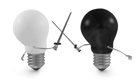 Black light bulb fighting duel with swords against white one isolated on white photo