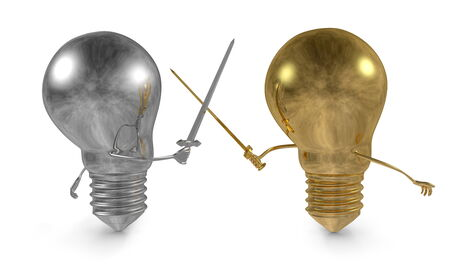 duel: Golden light bulb fighting duel with swords against silver one isolated on white