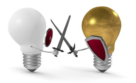 duel: Golden light bulb fighting duel with swords and shields against white one isolated on white