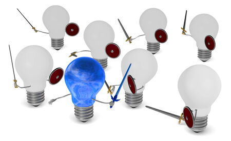 Sky-reflecting light bulb fighting against many white ones with swords and shields isolated on white photo