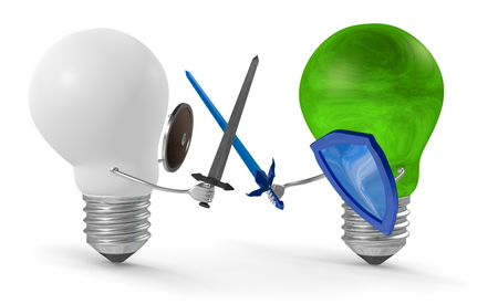 duel: Green light bulb fighting duel with swords and shields against white one isolated on white
