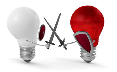 duel: Red light bulb fighting duel with swords and shields against white one isolated on white