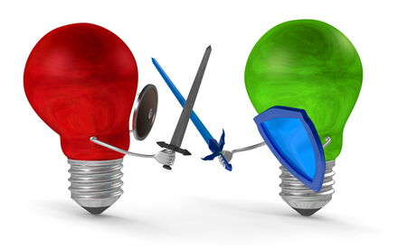 duel: Green light bulb fighting duel with swords and shields against red one isolated on white Stock Photo
