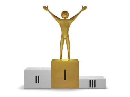 Golden winner on gray sports victory podium with golden cube for first place isolated on white. Front view photo