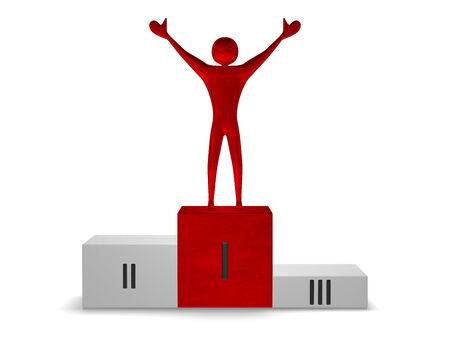 Red reflective winner on gray sports victory podium with red cube for first place isolated on white. Front view photo