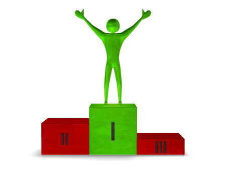Green reflective winner on multicolored sports victory podium with green cube for first place isolated on white. Front view photo