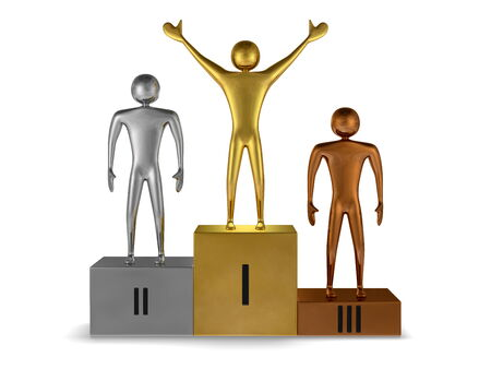 Golden winner, silver and bronze prizetakers on sports victory podium of same metals isolated on white. Front view photo