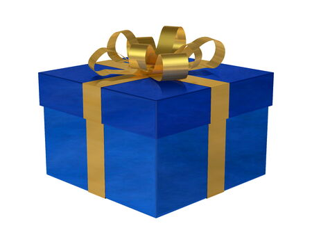 Reflective smoky blue gift box with golden bow isolated on white photo