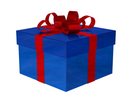 Reflective smoky blue gift box with red bow isolated on white photo
