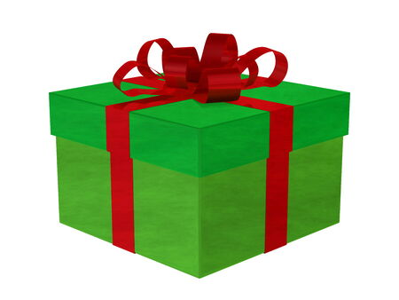 Smoky green gift box with red bow isolated on white photo