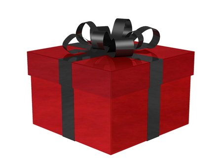 Reflective smoky red gift box with black bow isolated on white photo