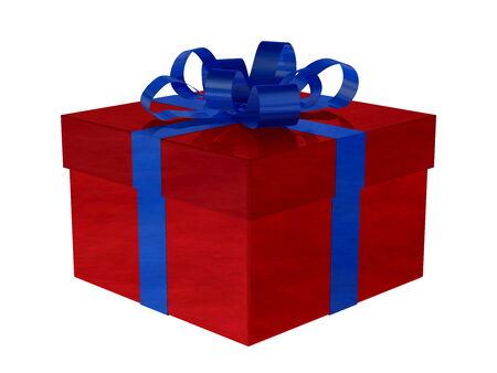 Reflective smoky red gift box with blue bow isolated on white photo