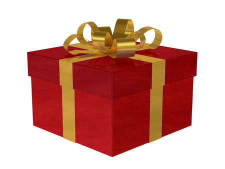 crimson: Reflective smoky red gift box with golden bow isolated on white