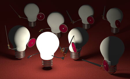 Glowing light bulb fighting against many switched off ones with swords and shields on dark red textured background photo