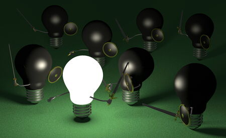 Glowing light bulb fighting against many black ones with swords and shields on dark green textured background photo