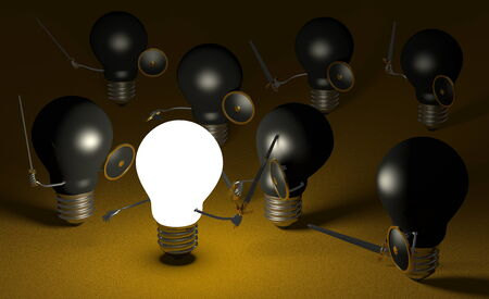 Glowing light bulb fighting against many black ones with swords and shields on dark yellow textured background photo